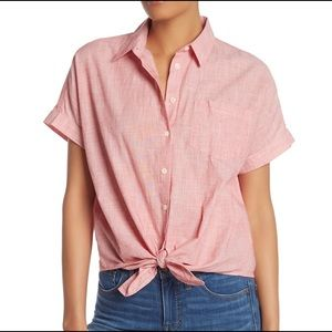 Madewell Blouse 3 Pink End on End Tie Front Cotton
